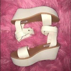White Ankle Strapped Wedge Platform Sandals